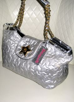 FOR SALE NOW - $70 Shipped US Priority - Email me: d37ia@icloud.com  On Tuesday I am Auctioning Betseyville Silver Quilted Star XXL Tote Bag