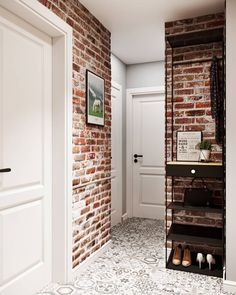 Brickwork with white seams in lobby Loft Interior, Country Interior Design, Apartment Interior, Apartment Design, Interior Architecture, Living Room Zones, Loft Design, House Design, Loft Stil