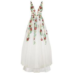 Jovani Floral Embroidered Ball Gown (€1.610) ❤ liked on Polyvore featuring dresses, gowns, white dress, jovani gown, white evening gowns, white formal dresses and floral embroidered dress