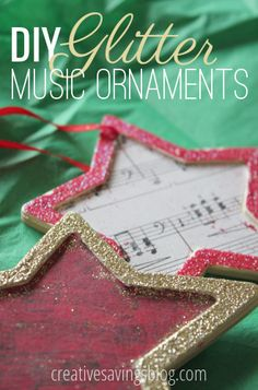 These DIY glitter music ornaments creatively use old sheet music, and sparkle on your tree! An inexpensive gift for grandparents, coworkers, and friends!