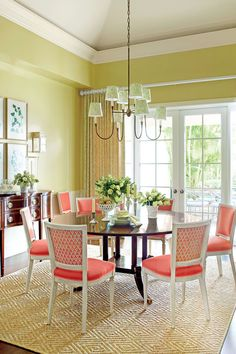 No. 4 Give Your Dining Room a Splash of Bold Color - 8 Fresh Decorating Resolutions - Southern Living