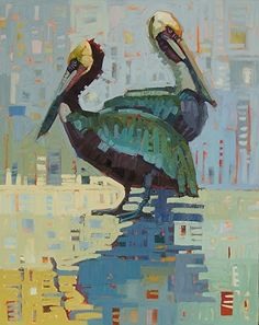 """Old Pals,"" by Rene' Wiley by René Wiley Gallery Oil ~ 30 x 24 Paintings I Love, Painting Prints, Beach Paintings, Cubist Art, Bird Artwork, Southwest Art, Tropical Art, Impressionist Paintings, Bird Drawings"