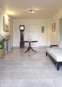 Dijon Tumbled limestone tiles - Dijon limestone flooring from Large format and small format tiles. In stock, free samples Dijon tumbled natural stone. Foyer Flooring, Living Room Flooring, Kitchen Flooring, Tile Living Room, Tile Floor Kitchen, Ceramic Floor Tiles, Küchen Design, Floor Design, Tile Design