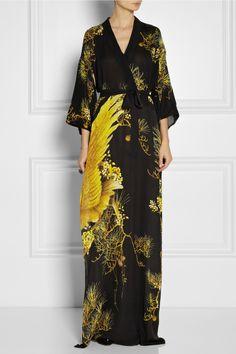 Roberto Cavalli|Chimera printed silk crepe de chine kimono-style dress|NET-A-PORTER.COM