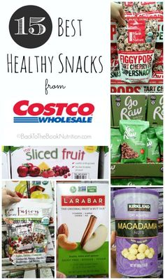 For busy moms everywhere – a list of the 15 Best Healthy Snacks from Costco. All are minimally processed and have no artificial colors or flavors, no natural flavors, no trans fats, and no refined sugar! We all know packaged snacks are often heavily pro Gourmet Recipes, Real Food Recipes, Snack Recipes, Healthy Recipes, Vegetarian Recipes, Whole30 Recipes, Healthy Dinners, Healthy Options, Recipes Dinner