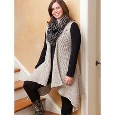11 Figure Flattering Plus-Size Fashions Crochet Patterns Tunic Shawl Wrap Vest +