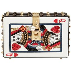 Dolce & Gabbana Women Dolce Box Queen Of Hearts Leather Clutch ($3,905) ❤ liked on Polyvore featuring bags, handbags, clutches, white, leather handbags, white studded purse, white clutches, white leather handbags and white handbags