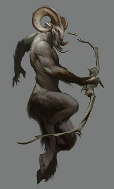 The Satyr or female Satyresses has goat-like features, including a goat-tail, goat-like ears.Sometimes mistaken for fauns which are half human half goat Satyrs are not human. Magical Creatures, Fantasy Creatures, Fantasy Kunst, Fantasy Art, Beast, Creature Concept, Mythological Creatures, Gods And Goddesses, Creature Design