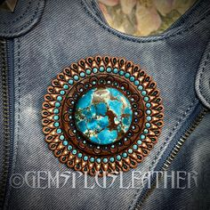 More pictures of my tooled leather #conchos in my #Etsy shop #Gemsplusleather #concho #turquoise #customleather #tooledleather #gem #gemstone #leather #handpainted #leatherwork #Leathersmith #leatherworks #leathercraft #handmade #leatherart #artisan #boho #fantasy #gemstones #gemsforall #boho #bohemian #gems #handmadewithlove #leatherwork #bagaccessories #bohobags Leather Ring, Leather Tooling, Tooled Leather, Leather Gifts For Her, Painting Leather, Custom Leather, Hand Tools, Craft, Natural Gemstones