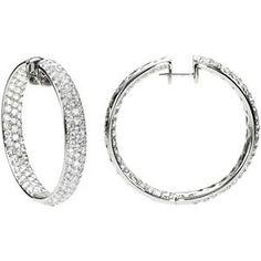 8 1/2 ct tw Diamond Inside/Outside Hoop Earrings   Stuller.com