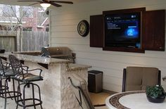 Outdoor kitchens are a great way to invite your indoor living space outside. At Backyard Retreats, we create custom outdoor kitchens that make outdoor ent Outdoor Spaces, Outdoor Living, Outdoor Kitchens, Tv In Kitchen, Bbq Area, Backyard Retreat, Outdoor Entertaining, Food Preparation, Living Spaces