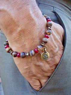 Men's Spiritual Protection, Strength, Serenity Om Bracelet - Semi Precious Matte Tibetan Agate, Ruby Jade, Hematites, Om Brass Symbol Charm by tocijewelry on Etsy