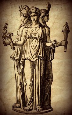 Hecate: most often shown holding two torches or a key and in later periods…