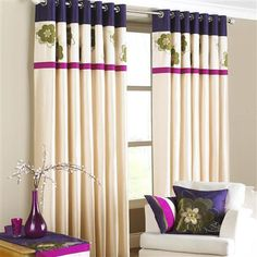 Kyoto Pair of Eyelet Curtains, Aubergine, from $55 !!
