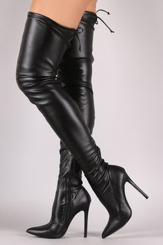 These boots feature a pump silhouette with a stretchy fitted shaft and a keyhole at the back of the knee. Soft lining. Partial inner side zipper. Finished with a pointy toe and on a stiletto heel. Mat