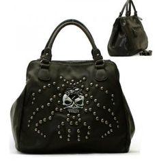 Skull Spider Metal Stud Purse and Bag / Handbag/ Black/ Rcht816blk,$43.99