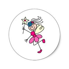 Pink Stick Figure Fairy Sticker
