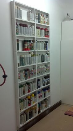 A shallow shelf system that holds spray cans. Now I can easily see them.
