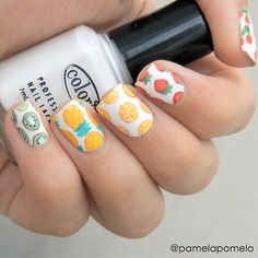 Let your nails steal the show with fresh and juicy fruit nail art designs. Move on and on to find the best of the best from these 57 truly unique ideas! Cute Nail Art, Nail Art Diy, Diy Nails, Cute Nails, Pretty Nails, Food Nail Art, Fruit Nail Art, Instagram Nails, Dream Nails