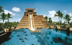 """Leap of Faith"" is a slide that cascades down a life-size replica of a Mayan temple at the Aquaventure Water Park at Atlantis Paradise Island in the Bahamas.. Been there done that"