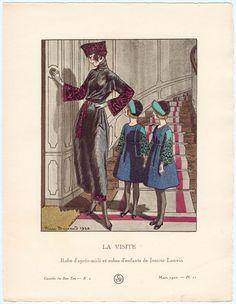 """""""La Visite - Robe d'après-midi et robes d'enfants de Jeanne Lanvin,"""" plate 11 from Gazette du Bon Ton, Volume 1, No. 2 Une robe d'après-midi et des robes d'enfants, de Jeanne Lanvin: La robe est en satin noir et la petite toque en manille, toutes deux brodées d'argent et de perles rouges. Les robes des fillettes sont en lainage marine; manches en velours vert jade brodé or pâle, garnitures en velours vert jade.  March 1920"""