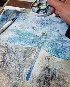 #dragonfly #watercolor #painting #goldleaf #dragonflyart