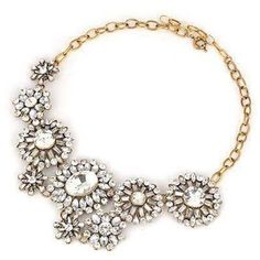Wedding Bridal Prom Clear Crystal STATEMENT Necklace Gold Chain UNIKLOOK Jewelry #Uniklookjewelry #bibstatement