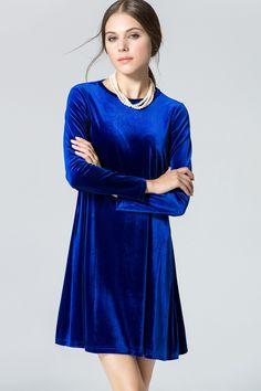 Blue Velvet Long Sleeve Casual Dress #Blue #Dress #maykool