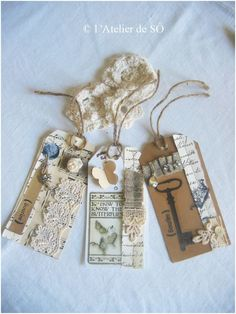 Vintage tags - I love to wrap presents.  These tags would be perfect for many presents.  I would love to see them round a wine bottle.  Leave the wrapping simple and use these gorgeous tags!