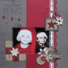 I guess flowers are supposed to represent poinsettias. I would use snowflakes maybe.or stockings would be even better! Album Vintage, Vintage Scrapbook, Baby Scrapbook, Christmas Scrapbook Layouts, Scrapbook Page Layouts, Scrapbook Journal, Scrapbook Albums, Album Diy, Theme Noel