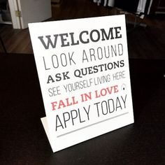 Use the Property Management Welcome Sign as a sweet way to welcome potential applicants to your rental. - 8 x 10 - Printed on PVC, lightweight, yet strong - Easel Back & L Bend - Stands on it's own #lotterystrategy