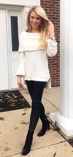 #winter #outfits white scoop-neck bertha-collared sweater with black pants