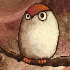 Favorite  Like this item?    Add it to your favorites to revisit it later.  Albert -- signed Print of an Original Acrylic Owl Painting -- Deadpan Alley