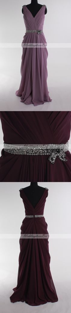V-neck chiffon floor-length dress