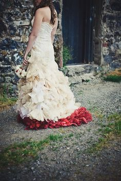 There's a thought; textured color at the bottom of a wedding gown! <3