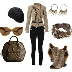 """Black and Khaki"" by martha-hill-carter on Polyvore"