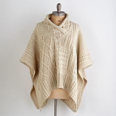 Irish Aran Plaited-wool Poncho