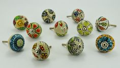 Set of 10 Unique Mix Color multi Designed hand Painted - dotted Ceramic Knobs / Pulls With Stylist Chrome Hardware on Etsy, 33,40 €