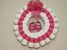 Small Rolled Baby Girl Diaper Wreath.