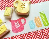 cooking hand carved rubber stamps - handmade rubber stamp - kitchen utensils - kitchen scale/measure cups - set of 4pcs - no5. $15.00, via Etsy.