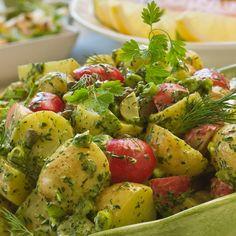 Fransk potatissallad med kryddgrönt. #vegan #veganskt