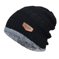 1a458e62a91 Men s winter hat 2017 fashion knitted black hats Fall Hat Thick and wa –  The Glamorous