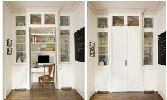 hidden desk area in kitchen