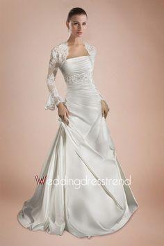 Graceful Ruched Beaded A-line Chapel Train Wedding Dress