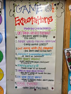 Sports themed class expectations (from a day in the life of miss kranz)
