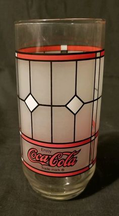 4f1f135c073 Details about Vintage Coca-Cola Frosted Stained Glass Drinking Glass