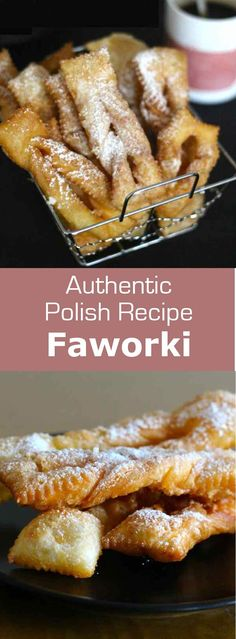 Chruściki, faworki, chrusty or angel wings are traditional donuts prepared in Poland during the carnival period until Fat Thursday. Ingredients 4 cups all Polish Desserts, Polish Recipes, Just Desserts, Ukrainian Recipes, Russian Recipes, Yummy Treats, Sweet Treats, Poland Food, Cookie Recipes