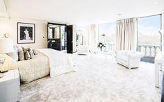 All white bedroom in Tom Cruise's London Penthouse // Interior Designer Paul Davies