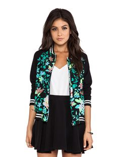 Lovers + Friends Baseball Jacket in Electric Hibiscus