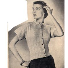 Short Sleeve Cardigan Blouse Knitting PDF Pattern Medium   This pattern contains instructions to knit, crochet edges, the blouse pictured above. The cardigan style blouse is front buttoned, with short sleeves, below waist length and an attractive and effective loose stitch.
